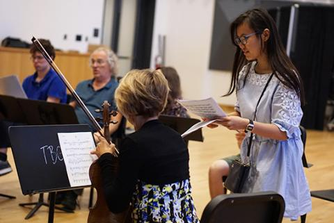 Students in a composing summer program